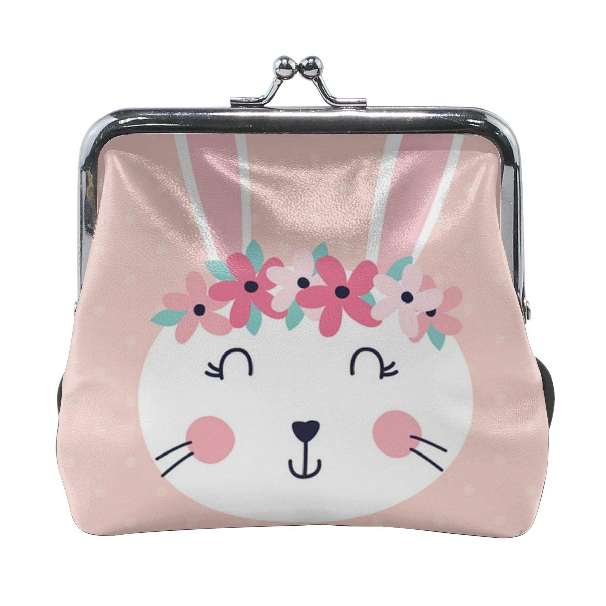 Girl Kiss And Buckle Change Purse Ladys HandbagPink Bunny Happy Easter Personality Metal Lock Purse Architd Customized Cute Retro Coin Purse
