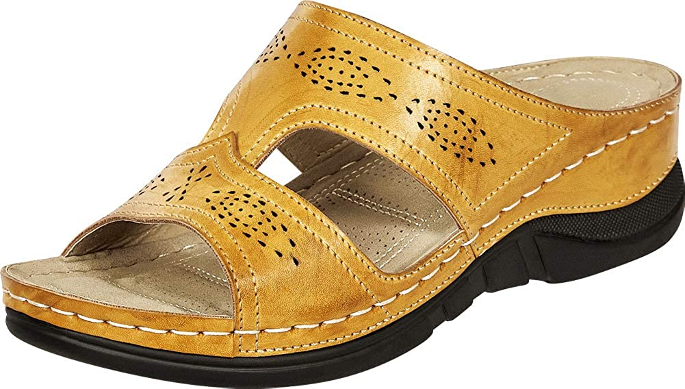 Natural Pu Cambridge Select Women's Open Toe Perforated Side Cutout Comfort Low Wedge Slide Sandal