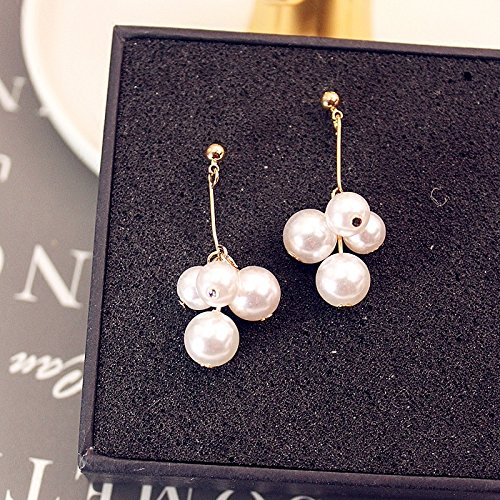 - Korean jewelry gold-plated bunch of grapes pearl beads simple earrings no pierced ear clip-on earrings female
