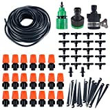 LittleBeeTek 49FT 1/4-inch Drip Irrigation Kit, Blank Distribution Tubing Hose Plant Watering Irrigation Drip Kit Accessories Include Atomizing Nozzle Mister Dripper