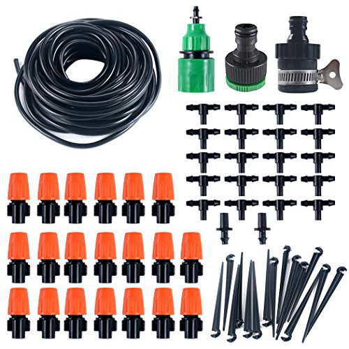 LittleBee 50FT 1/4-inch Drip Irrigation Kit, Plant Watering System Atomizing Nozzle Mister Dripper, Blank Distribution Tubing Hose Plant Watering Irrigation Drip Kit by LittleBee