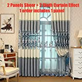 AiFish Sheer Window Curtains for Bedroom Embroidery Floral Sheer Voile Tulle Panel Drape for Living Room Rod Pocket 96 Inches Long Rustic Gauze Curtains for Patio Doors 1 Panel Blue W75 x L96 inch