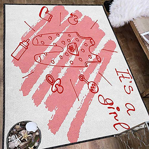 Gender Reveal Contemporary Painting Art Rug,Little Baby Girl on The Pastel Backdrop Toys Mom Pacifier Greeting Print Provides Protection and Cushion for Floors Coral and Red 63