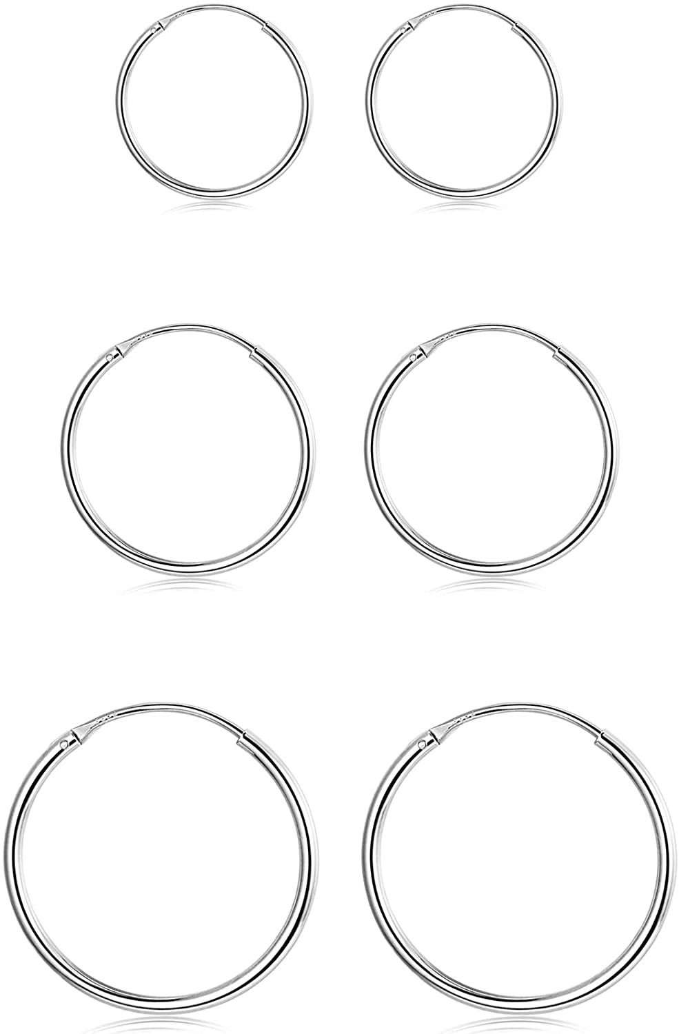 Sllaiss 3 Pairs 925 Sterling Silver Small Hoop Earrings For Women Men Round Endless Hoop Earrings Set Lightweight 10MM 15MM 20MM
