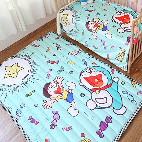 Candy Doraemon Cartoon Rugs 57 X 77 Inch - Pure Cotton Baby Children Playing Rugs Thick Anti-slip Checked Border Kids Gift