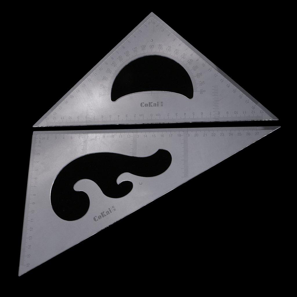 30cm 30//60//45//90 Degree Geometry Triangle Ruler Drawing Set 2Pcs Clear Plastic