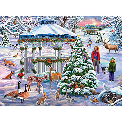 Bits and Pieces - 300 Piece Jigsaw Puzzle for Adults - Holiday Gathering - 300 pc Christmas Winter Animals Jigsaw by Artist Mary Thompson