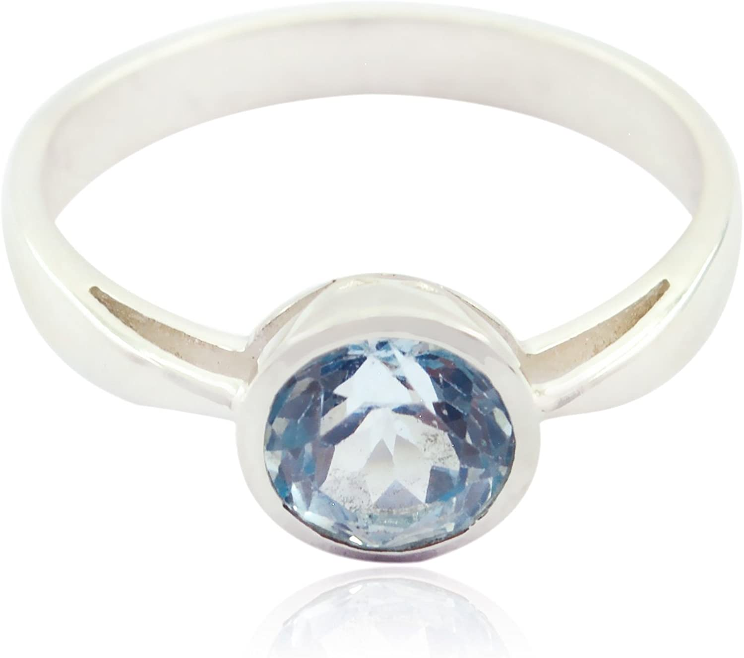 Wholesale Jewellery Shops Gift Name Ring Lovely Gemstones Round Faceted Blue Topaz Rings Sterling Silver Blue Blue Topaz Lovely Gemstones Ring