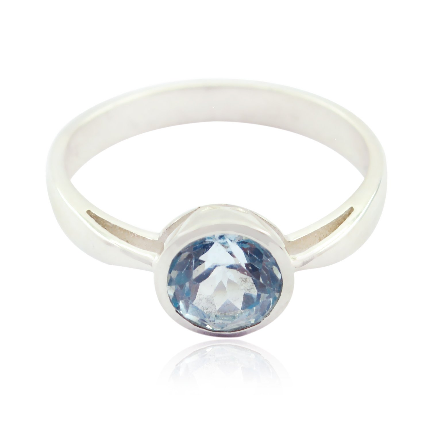 Lovely Gemstones Round Faceted Blue Topaz Rings Sterling Silver Blue Blue Topaz Lovely Gemstones Ring Wholesale Jewellery Shops Gift Name Ring