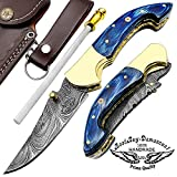 Blue Wood 7.5″ Custom Handmade Damascus Steel Brass Bloster Lock Folding Pocket Knife 100% Prime Quality Sharpening Rod For Sale