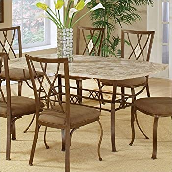 Wonderful Hillsdale Brookside Rectangle Dining Table, Brown Powder Coat Finished Base  And Fossil Stone Top