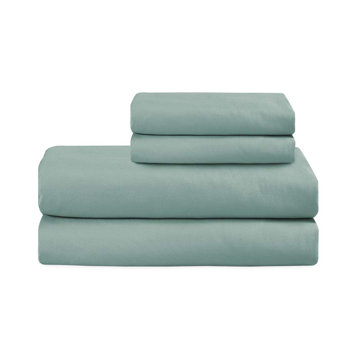 Basic Choice Bed Sheet Set - Brushed Microfiber 1800 Ultra Soft Bedding - Wrinkle, Fade, Stain Resistant - 4 Piece (Spa Blue, KING)
