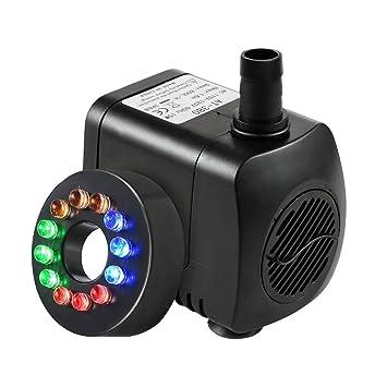 NICREW Mini Bomba de Acuario Sumergible Ultra Silencioso 800L/H con Luces Acuario, Bomba