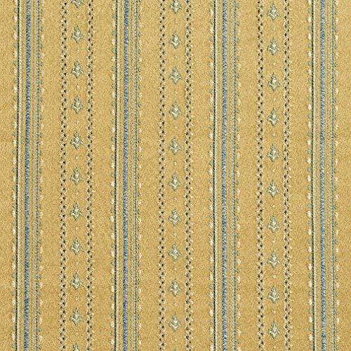 (B0740A Gold and Blue Stripes and Emblems Damask Brocade Upholstery Fabric by The Yard )