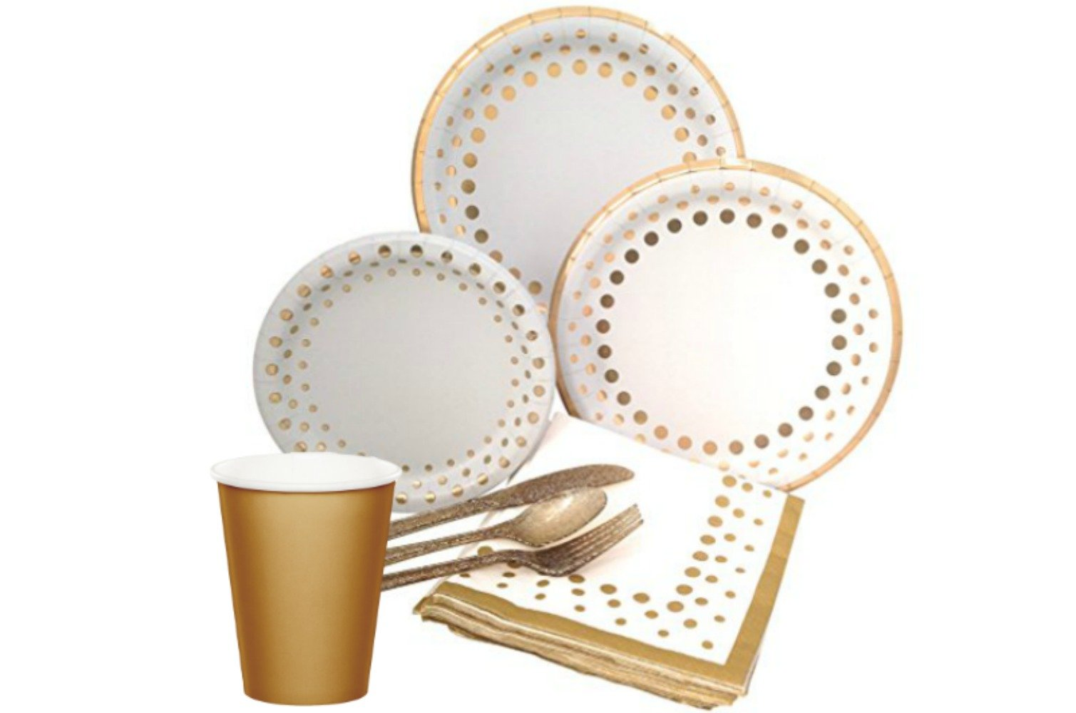 Gold Polka Dot Party Supply Pack for 24 Guests! Bundle Includes Elegant Metallic Foil Paper Plates and Napkins, Glitter Silverware & Hot/Cold Cups for 24 Guests