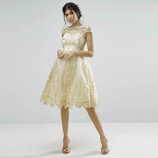 Vestido de mujer Señoras Sexy Cordón Bordado Paseo Formal Dama de honor Boda Princesa Elegante Vestido de vestidos de bola Vestido de noche Mini vestido ...