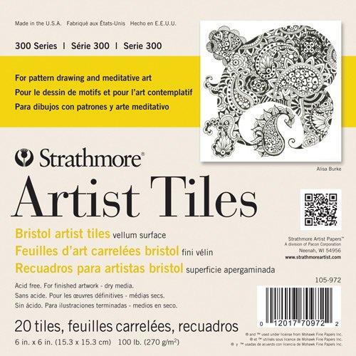 Strathmore 300 Series Bristol Artist Tiles, Vellum 4 x 4 Inches White 20 - Artist Tiles 4x4