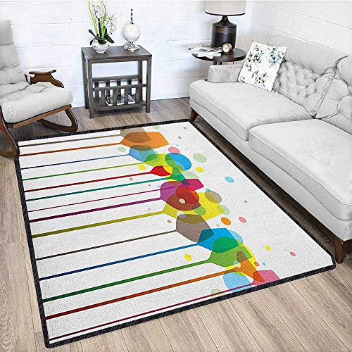 Winery Large Rug Mat,Colorful Wine Glasses Alcohol Drink Beverage Fizzy Champaigne Party Bar Art Design for Hard Floors Multicolor 79
