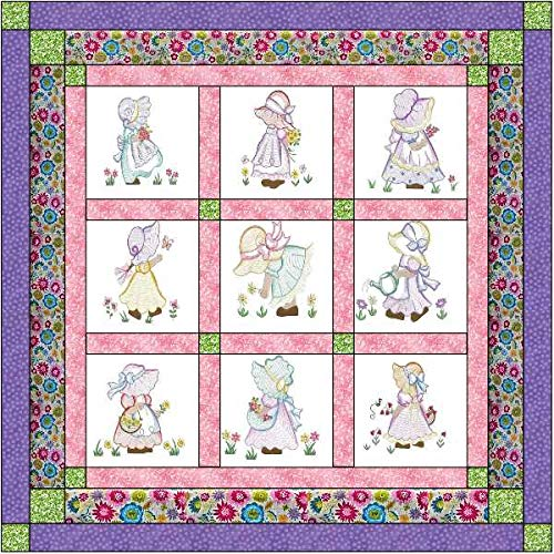 Quilt Kit Sunflower Babies/Pre Cut Ready to Sew/Finished Embroidery by Material Maven
