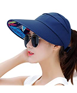 HINDAWI Sun Hats for Women Wide Brim Sun Hat Packable UV Protection Visor Floppy Womens Beach Cap (Blue)