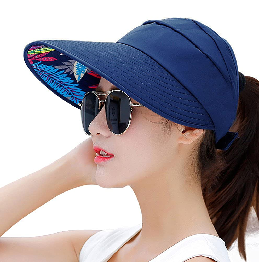 HINDAWI Sun Hats Women Wide Brim UV Protection Sun Hat Summer Beach Packable Visor NT2378-BK