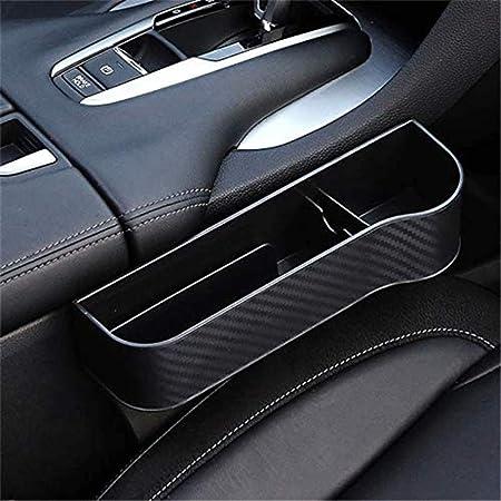 Yeslln Multifunktionale Autositz Organizer Aufbewahrungs Schlitz Box Carbon Faser Für Auto Sitz Autozubehör Geeignet Für Die Meisten Autos Schwarz Auto