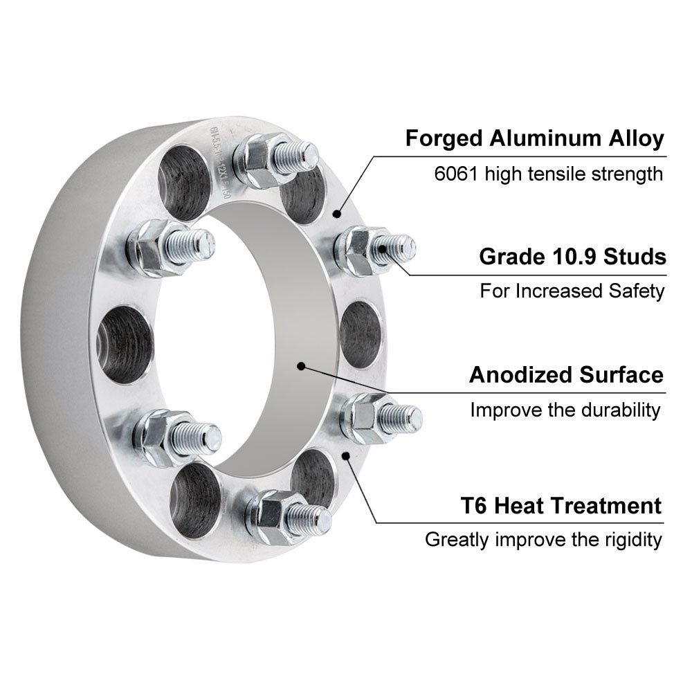 Suburban DCVAMOUS 4pc 6 Lug 6x5.5 Wheel Spacers Adapters 1.5 with 14x1.5 Studs for 1999-2018 Chevy Silverado 1500 1995-2018 Tahoe Express 1500 Trucks