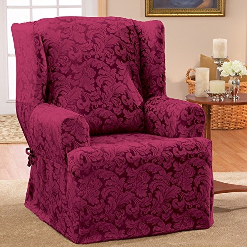 Burgundy Scroll Classic Wing Chair T Cushion Skirted Slipcover 5.7lbs With Gorgeous Print Pattern Slipcover Type: Armchair* (Chair T-cushion Scroll Slipcover)