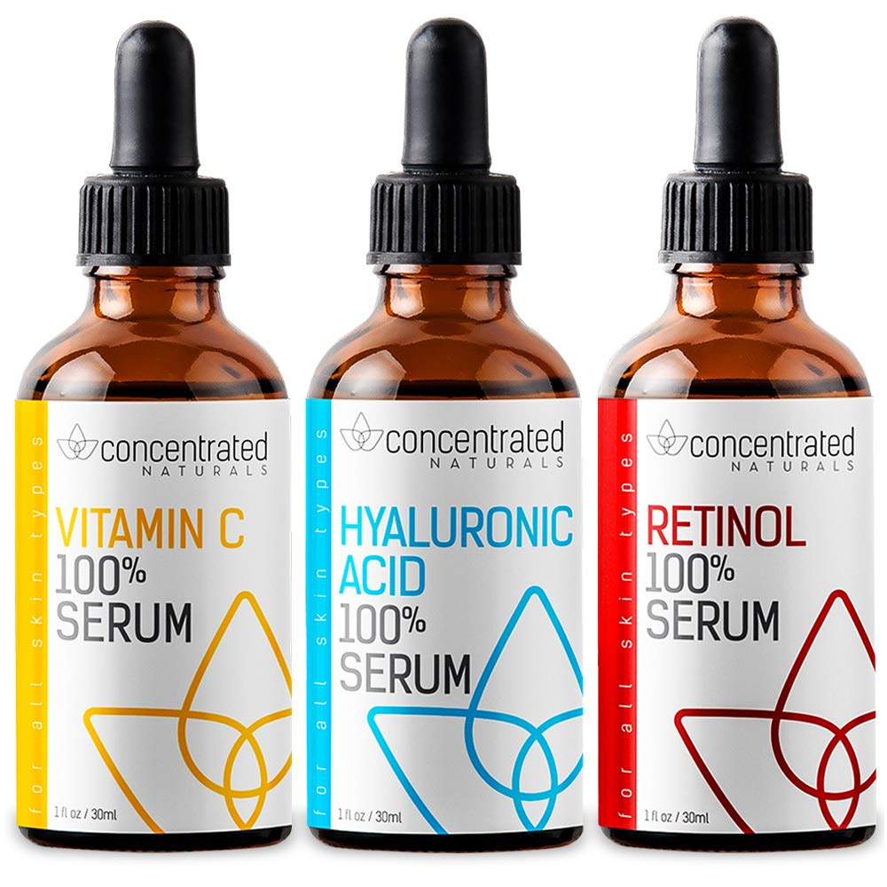 Complete Facial Serum Set Vitamin C, Hyaluronic Acid and Retinol Serum for Face   May Help Smooth Appearance of Fine Lines   Works to Brighten for More Youthful Looking Skin   3 x 1 fl oz / 30 ml