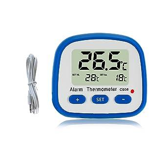 Termómetro de nevera digital con imán y Stander Termómetro de lectura fácil con indicador LED Hola