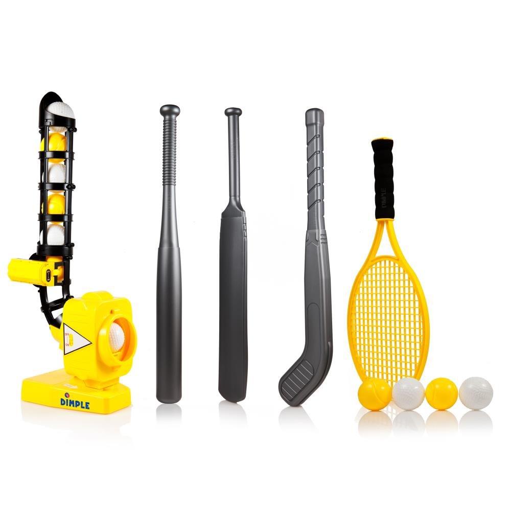 Bohrmulden-power-pro Kids 4in 1Baseball Pitching Maschine mit verstellbarer Winkel–Ideal Sport Training Krug für 4Spiele; Baseball, Cricket, Tennis, Hockey Hockey Gelb Dimple DC11963