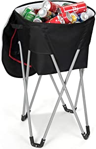 Goplus Camping Standing Ice Cooler Bag, Folding Portable Leakproof Tub Cooler with Stand and Travel Bag, Food-Grade Larger Capacity Outdoor Wide Application (Black)