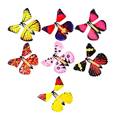 TOYANDONA 7 Pieces Flying Butterfly Toys Funny Wind Up Butterflies Outdoor Playing Toys for Kids (Random Color): Toys & Games