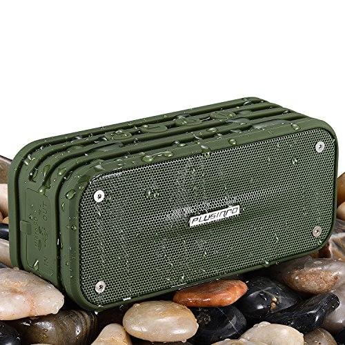 Bluetooth Speakers, PLUSINNO Ultra Portable Bluetooth 4.0 Waterproof Wireless Speaker with Integrated Siri/Voice Control, Bluetooth Receiver, Built-in Microphone and Selfie Function (Army Green)
