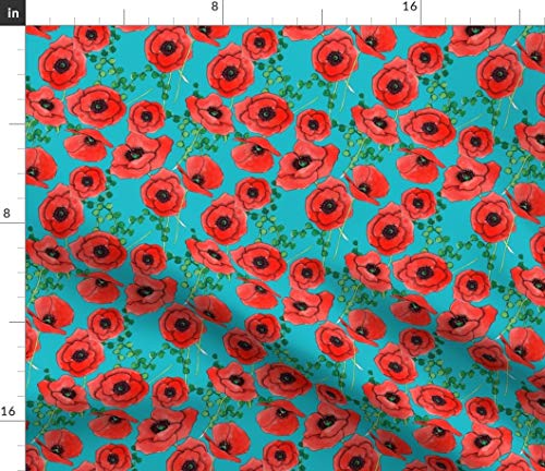 Red Poppies Fabric - Bright Watercolor Flower Floral Botanical Blue Summer Cheerful Print on Fabric by The Yard - Sport Lycra for Swimwear Performance Leggings Apparel Fashion Cheerful Bright Blue Flower