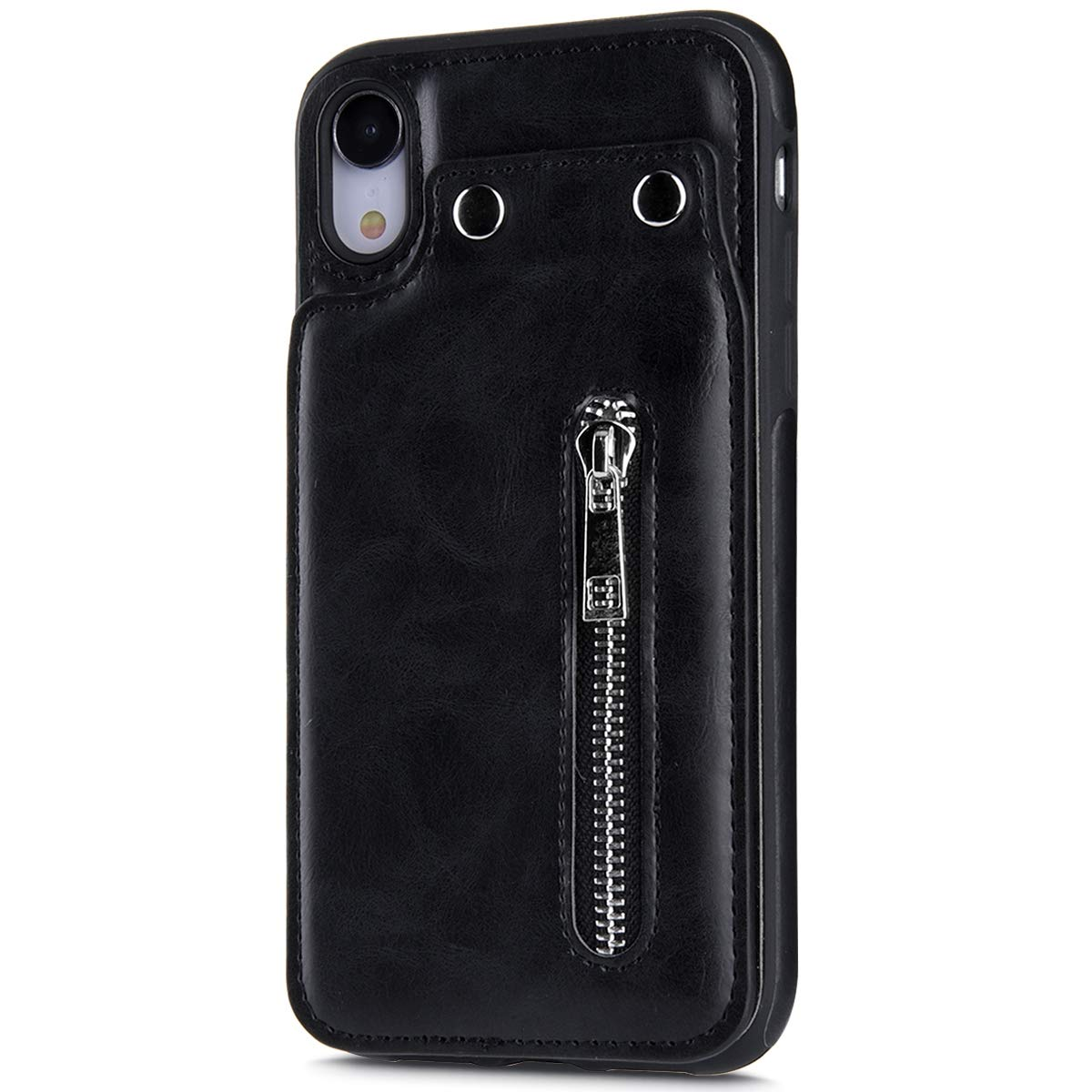 Case for iPhone XR Flip Case Premium PU Leather Wallet Cover with Card Holder Money Pocket Durable Shockproof Protective Cover for iPhone XR,Black by ikasus