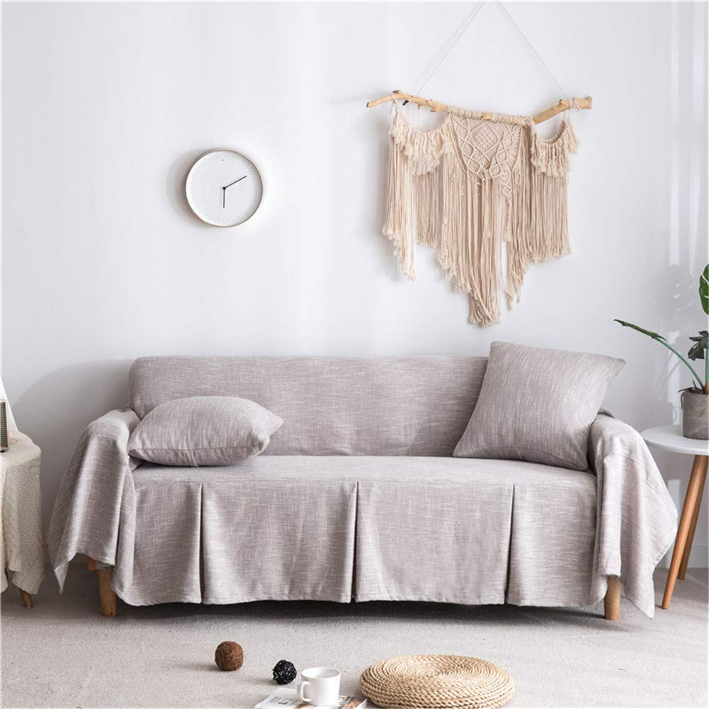 CoutureBridal Seater Sofa Covers Sofa Slipcovers Protector Linen Leather  Couch Covers with One Free Cushion Case Tan 78x141