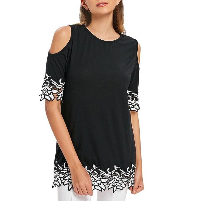 Longra♥Forme a mujeres el algodón de manga corta apliques de encaje camiseta de hombro