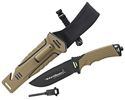 StatGear Surviv-All Fixed-Blade Bowie Knife with Sheath, Firestarter, Sharpener & Cord Cutter for Hunting Camping Outdoors Hiking EDC