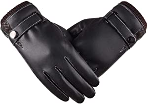 QIN.J.FANG-QETY Men's Leather Gloves, Winter Black Touch Screen Plus Velvet Warm Water wash Leather Cold Driving Gloves (one Size fits All)