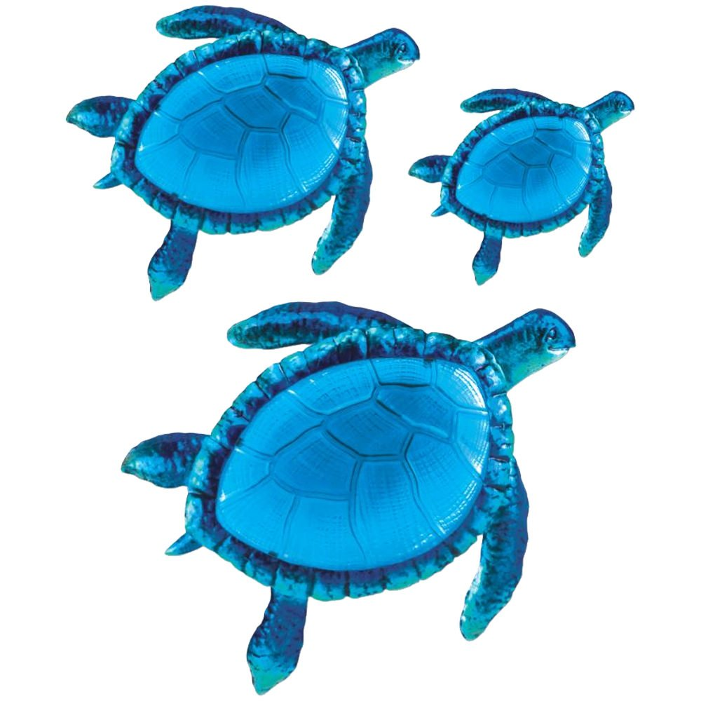 Comfy Hour Coastal Ocean Sea Turtle Wall Art Decor 3 Piece, Blue