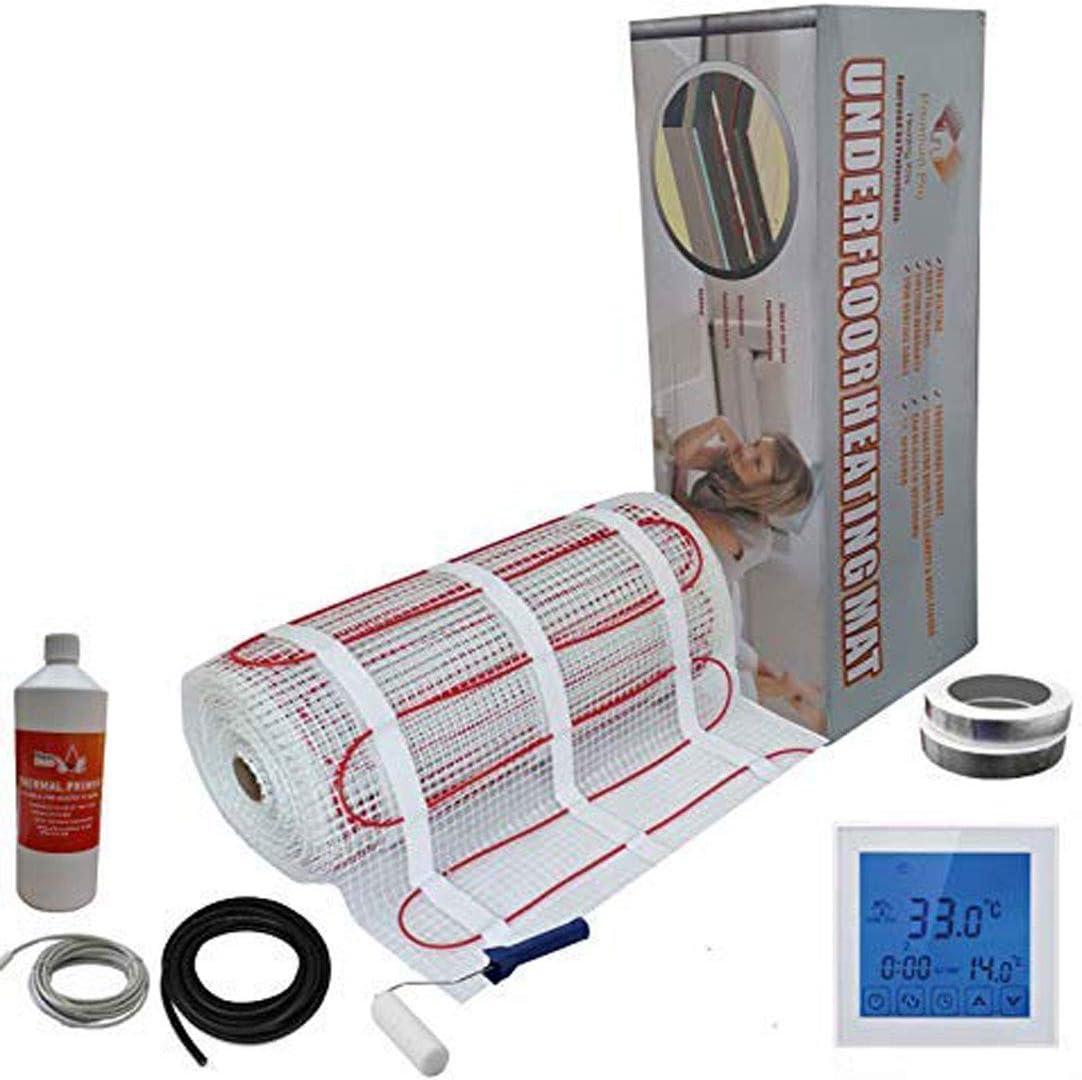Thermostat Blanc Avec /Écran Tactile 14.0m/² Nassboards Premium Pro Kit /Élite de Tapis de Chauffage Au Sol /Électrique de 150 W