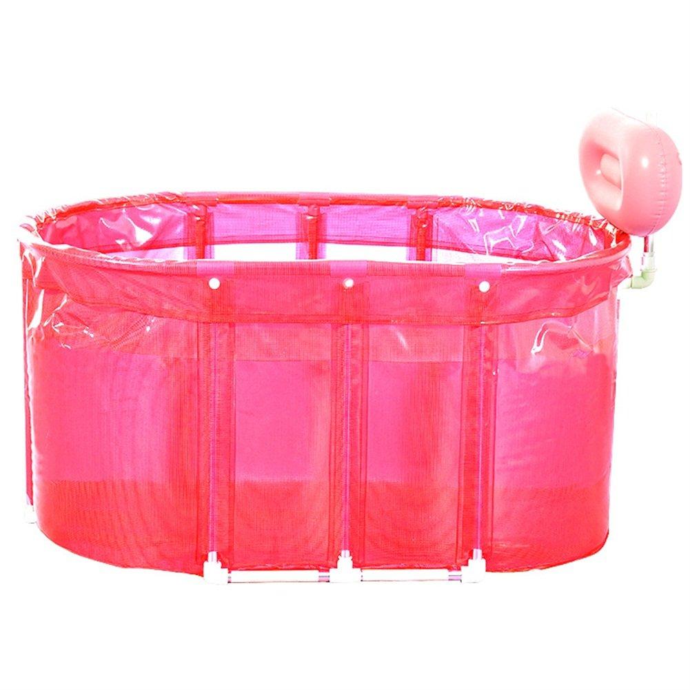 Sauna Bad Dual-Use-Extra Große Klappeimer Badeeimer Erwachsene Edelstahl Eimer (Farbe : Pink)