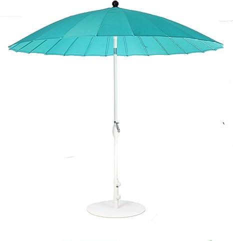 SORARA Sonnenschirm Parasol /Ø 260 cm UV 50+ excl. Base Rund Shanghai Beige//Sand | Kurbel /& Pendel Mechanismus Polyester 180 g//m/²
