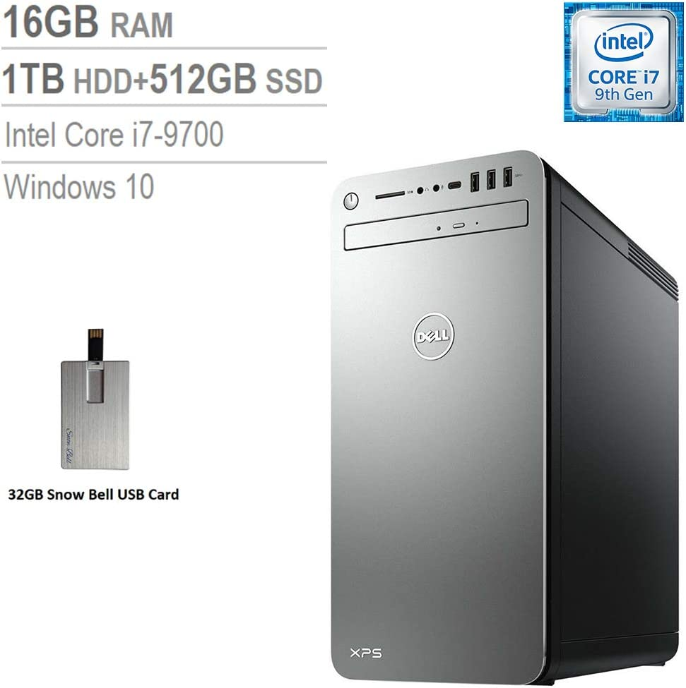 2020 Dell XPS 8930 Desktop Computer, 9th Gen Intel Core i7-9700, 16GB DDR4 RAM, 1TB HDD+512GB SSD, Intel UHD Graphics, Wired Keyboard, Mouse, Wave MAXX Audio, Win 10, Silver, 32GB Snow Bell USB Card