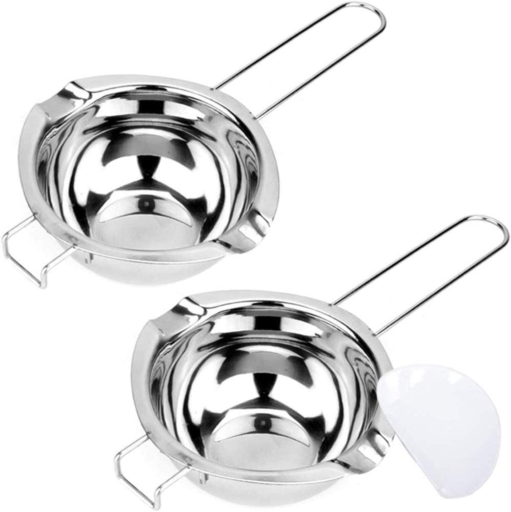 2 Pack of 400ML stainless steel universal double boiler boiler, with heat-resistant handle, baking tools, can melt chocolate, butter, candy and candles, large capacity