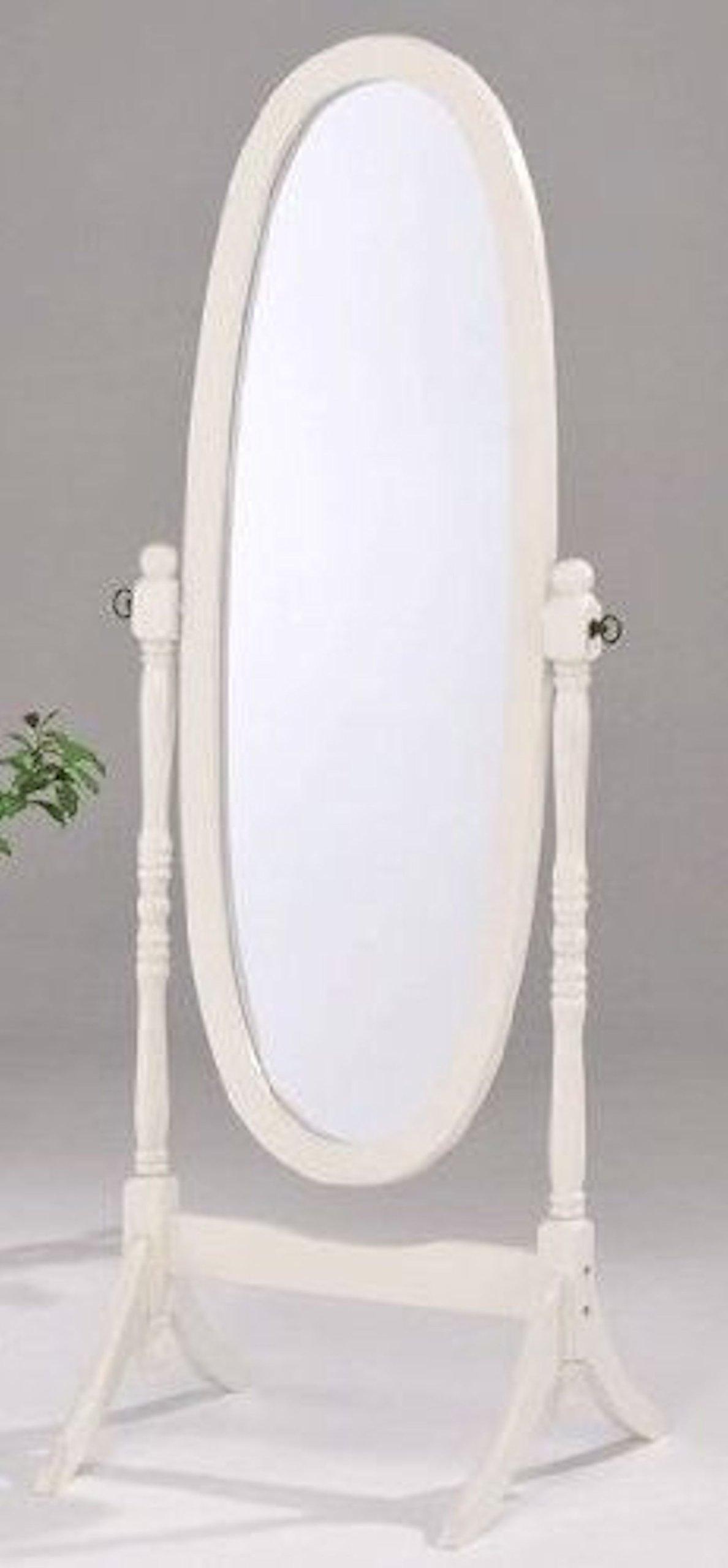 Legacy Decor Swivel Full Length Wood Cheval Floor Mirror, White New