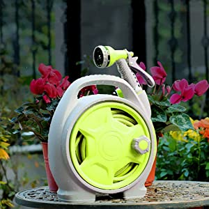 VUE Upgrade Retractable Garden Hose Reel, 50 FT Portable Garden Hose with 6-Function Spray Nozzle for Watering Flowers, Car Washing, Cleaning, Showering Pets (Green)