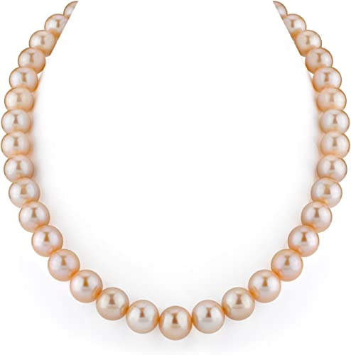 Womens Round AAA 17 inch 13-15mm Golden Freshwater Cultured Pearl Necklace 14k Gold Clasp