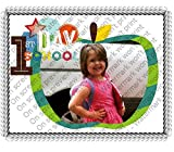 1/2 Sheet First Day of School Green Apple Add Your Picture Photo Frame Edible Image Cake Topper